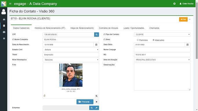 Ficha do Contato no módulo de Gestão de Banco de Dados